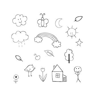 Векторная иллюстрация каракули для детей. карандашный рисунок, детские рисунки солнце, домик, человек, лист, цветок. рисование от руки, разработка логотипов, раскраски, детские книги.