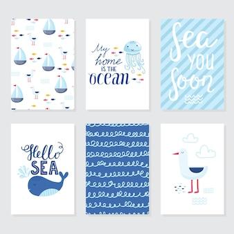 Векторная иллюстрация каракули. северное море. скандинавский стиль. готовые карты с морскими животными, китом, косаткой, крабами, чайкой, рыбой, морской символикой