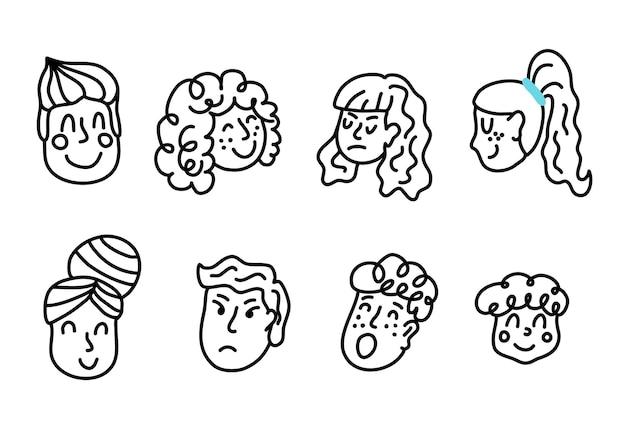 웃고 화난 얼굴을 하는 사람들의 벡터 낙서 삽화. 남자와 여자 아바타