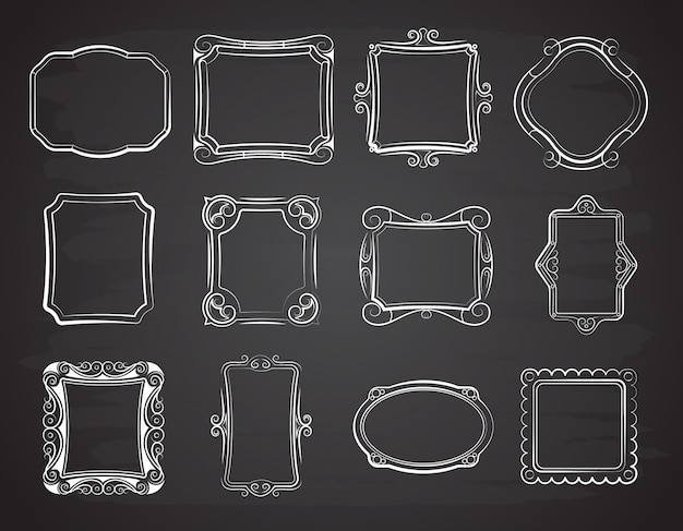 Vector doodle portrait photo frames