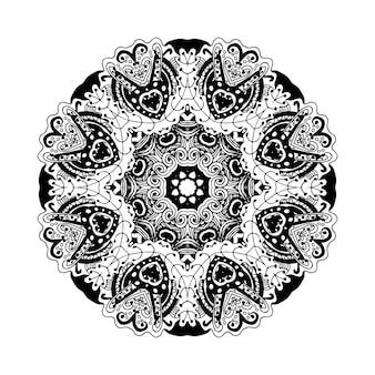 벡터 낙서 라운드 장식 흰색 배경에 고립