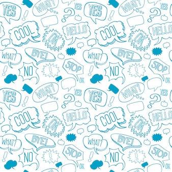 Vector doodle seamless pattern with speech bubbles
