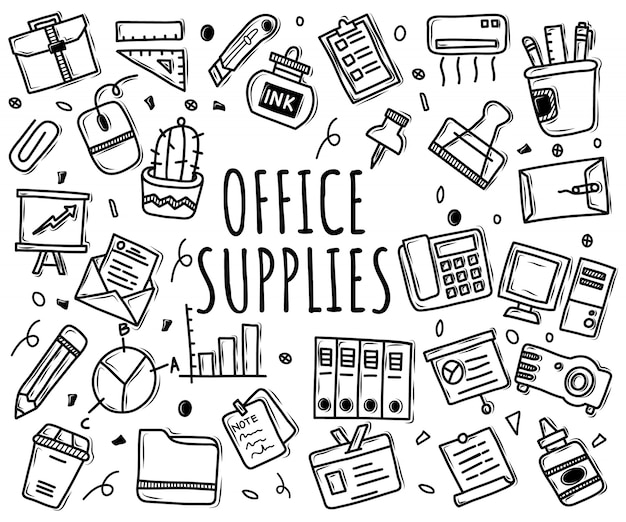 Vector doodle set of office supplies icons
