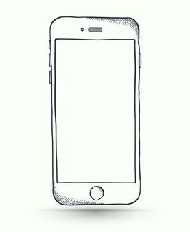 Vector doodle smartphone.