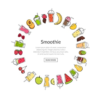 Vector doodle smoothie in circle banner shape illustration