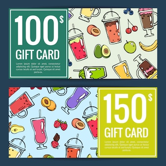 Vector doodle smoothie discount or gift voucher