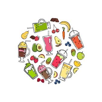 Вектор каракули коктейль в форме круга иллюстрации