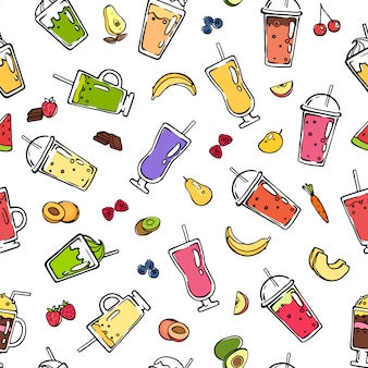Vector doodle smoothie seamless pattern