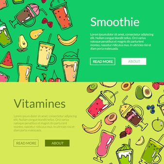 Vector doodle smoothie web banner templates illustration