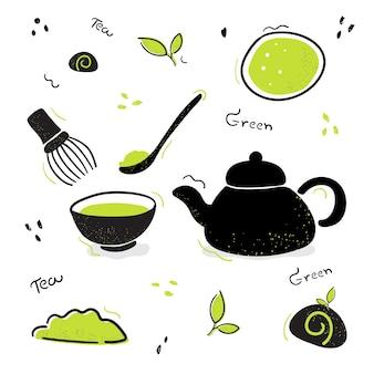 ベクトル落書き茶道セットイラスト緑茶