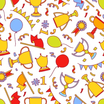 Vector doodle winner seamless pattern. Premium Vector