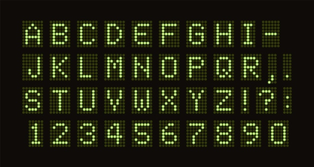 緑の光の円セットからのデジタルledテーブル緑の等幅文字のベクトルドットフォント