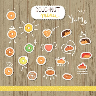 漫画のスタイルのベクトルドーナツイラスト。ドーナツの明るくてかわいいイラスト。カフェのかわいいステッカー