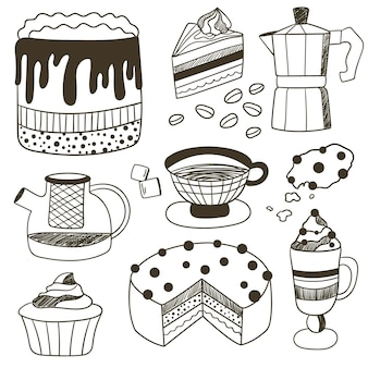 Vector draw illustration with dessert cake pastry cup of tea and coffee tea and coffee set