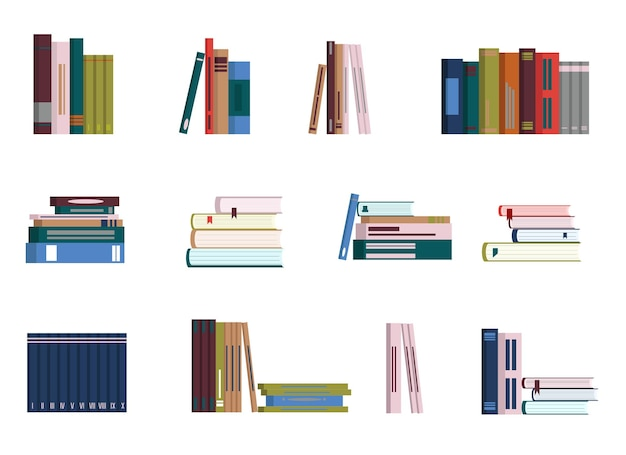 Vector drawing of books in different position and quantity. isolated stickers