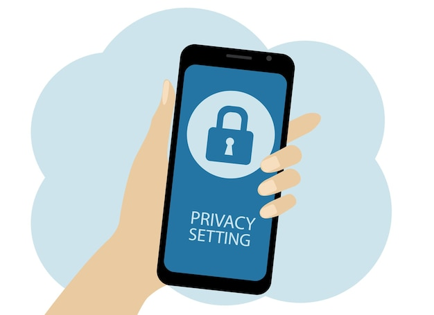 Vector drawing of a hand with a mobile phone. the phone has a lock with the privacy settings text