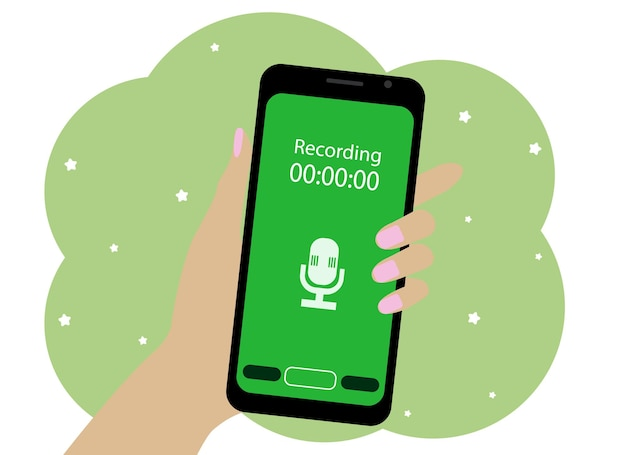 Vector drawing of a hand with a mobile phone. the phone is recording a voice message