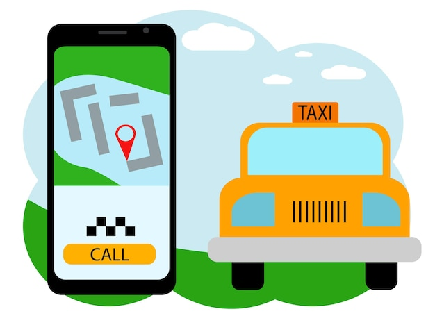 Vector drawing of a hand with a mobile phone. in the phone, a taxi call application with a car and a call button