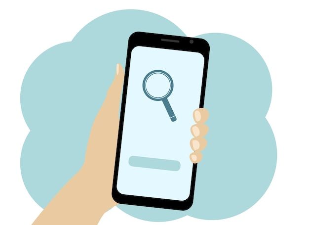 Vector drawing of a hand with a mobile phone. search for information in the phone. magnifier icon