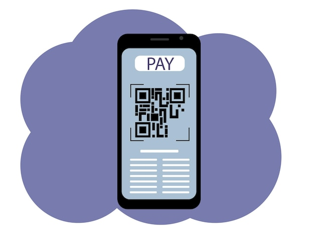 Vector drawing of a mobile phone with a picture on the screen of a qr code. pay