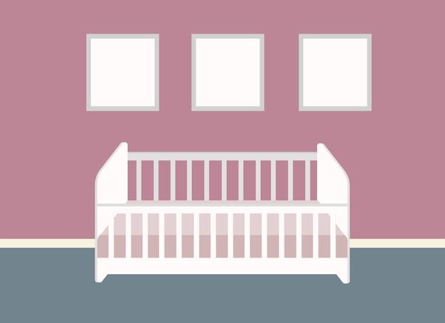아기를 위한 유아용 침대가 있는 보편적인 어린이 방의 벡터 드로잉
