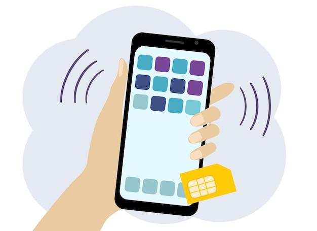 携帯電話とsimカードで手のベクトル描画。オペレーター接続
