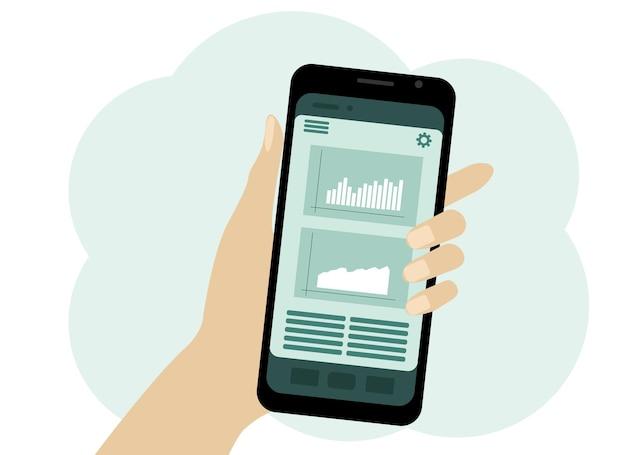 휴대 전화와 손의 드로잉 벡터입니다. 화면 차트 및 표시기. 비즈니스 분석