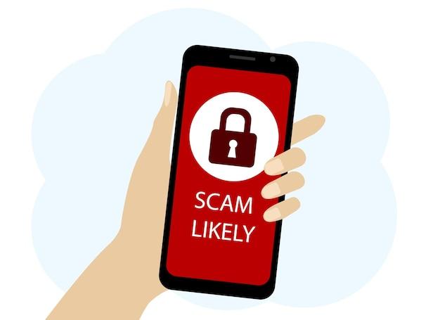 Векторный рисунок руки с мобильным телефоном. предупреждение о мошенничестве на экране и значок блокировки