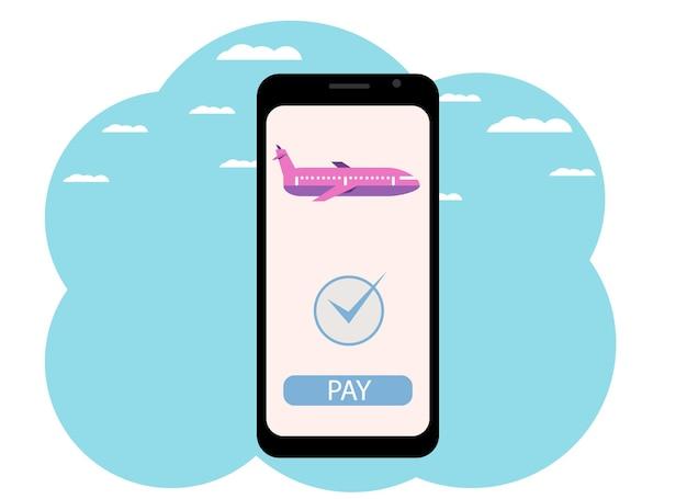 Векторный рисунок руки с телефоном. покупка авиабилета онлайн, оплата картой.