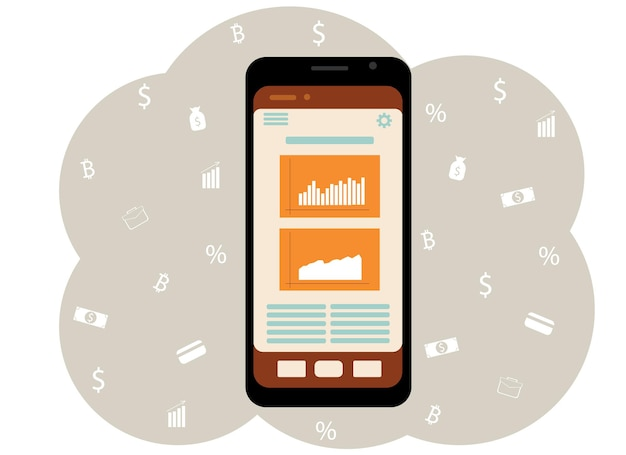휴대 전화의 벡터 드로잉입니다. 화면상의 그래프 및 차트. 온라인 소득