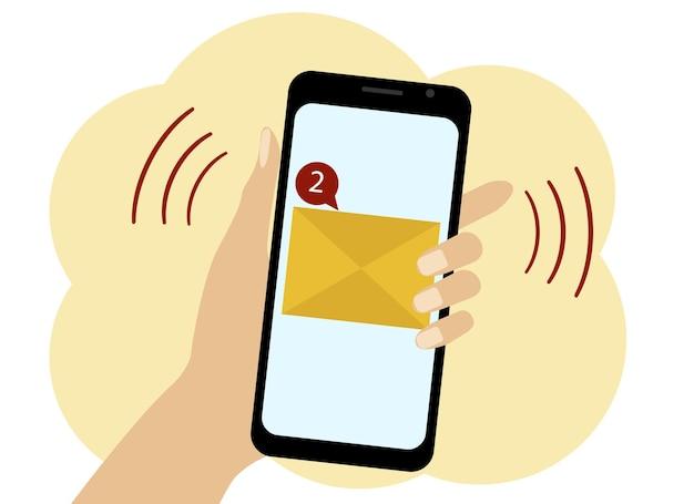 Векторный рисунок мобильного телефона, на экране которого два непрочитанных сообщения. изображение желтого конверта и красного предупреждения о непрочитании