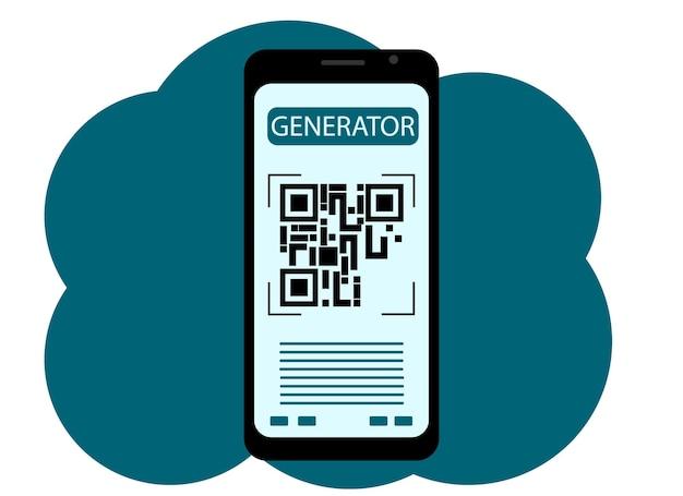 Qr 코드 화면에 그림이 있는 휴대 전화의 벡터 그림. 생성하다