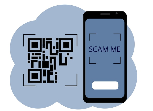 Qr 코드 화면에 그림이 있는 휴대 전화의 벡터 그림. 나를 스캔