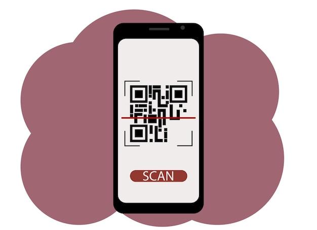 Qr 코드 화면에 그림이 있는 휴대 전화의 벡터 그림. 스캔 또는 생성