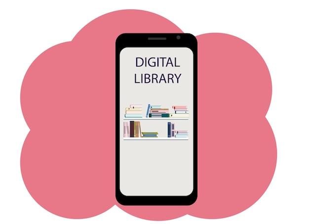 本とテキストデジタルライブラリの画像と携帯電話のベクトル描画