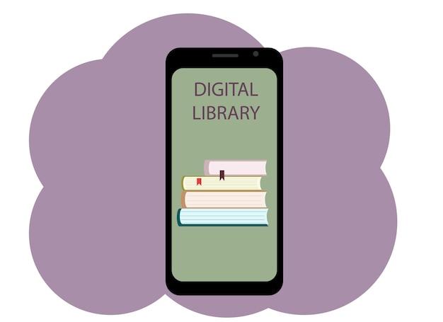 Векторный рисунок мобильного телефона с изображением книги и текстовой цифровой библиотеки