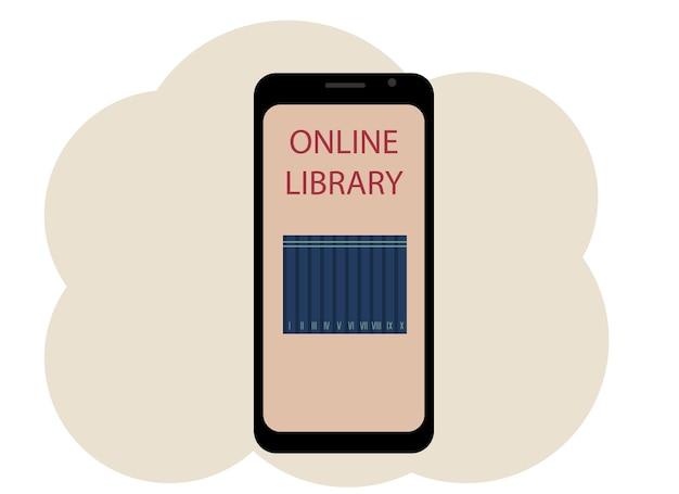 本とテキストオンラインライブラリの画像と携帯電話のベクトル描画