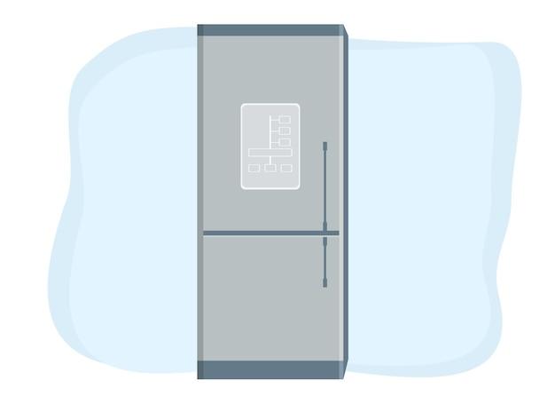 現代のスマート冷蔵庫のベクトル描画。金属製冷蔵庫