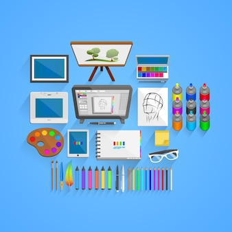 Vector drawing tools style. illustration art icon