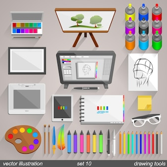 Vector drawing tools style. set 10 illustration art