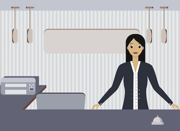 Vector drawing of a woman manager at the reception