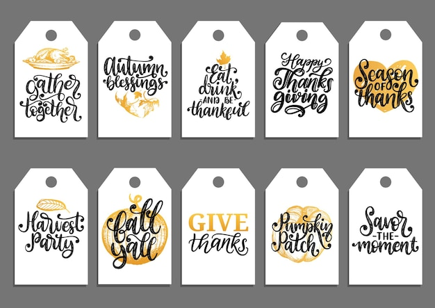 Vector drawn and handwritten labels of autumn blessings, pumpkin patch, give thanks, fall yall, harvest party etc. tags with lettering and illustrations for thanksgiving day.