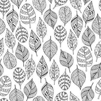 Vector drawn leaves in doodle style. floral decorative seamless pattern.