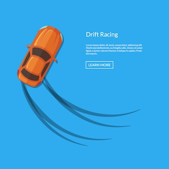 Vector drifting car top view with tire tracks illustration