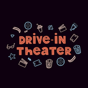 Vector drivein theater label lettering with icon cinema set movie hand drawn collection