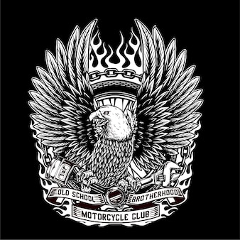Vector of eagle hold the piston and wrench and tyre of custom motorcycle
