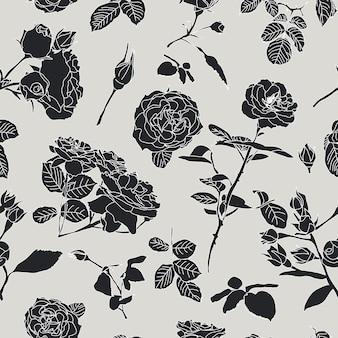 バラとシームレスなパターンベクトル。