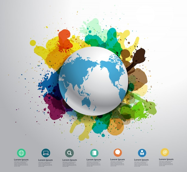 Vector earth creativity concept with watercolor splatter