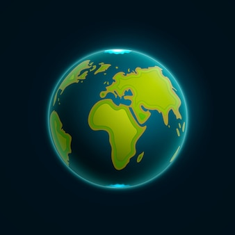 Vector earth globe illustration. paper carving earth map shapes with shadow