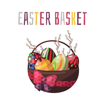Vector. easter basket with chocolate colored eggs and spring flowers.